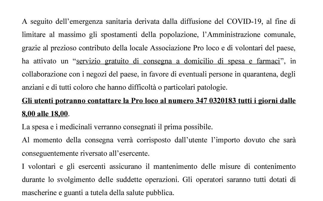 COVID-19 SERVIZIO DI SPESA A DOMICILIO E CONSEGNA FARMACI
