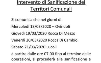 COVID-19 INTERVENTO DI SANIFICAZIONE DEI TERRITORI COMUNALI