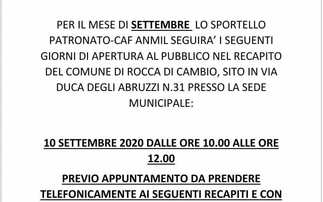 SPORTELLO PATRONATO-CAF ANMIL – MESE SETTEMBRE